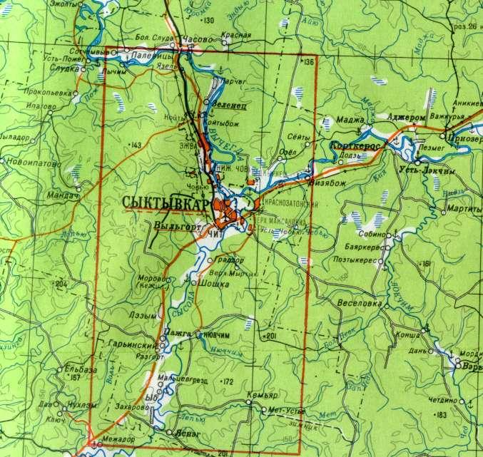 Карта Сыктывкара со спутника
